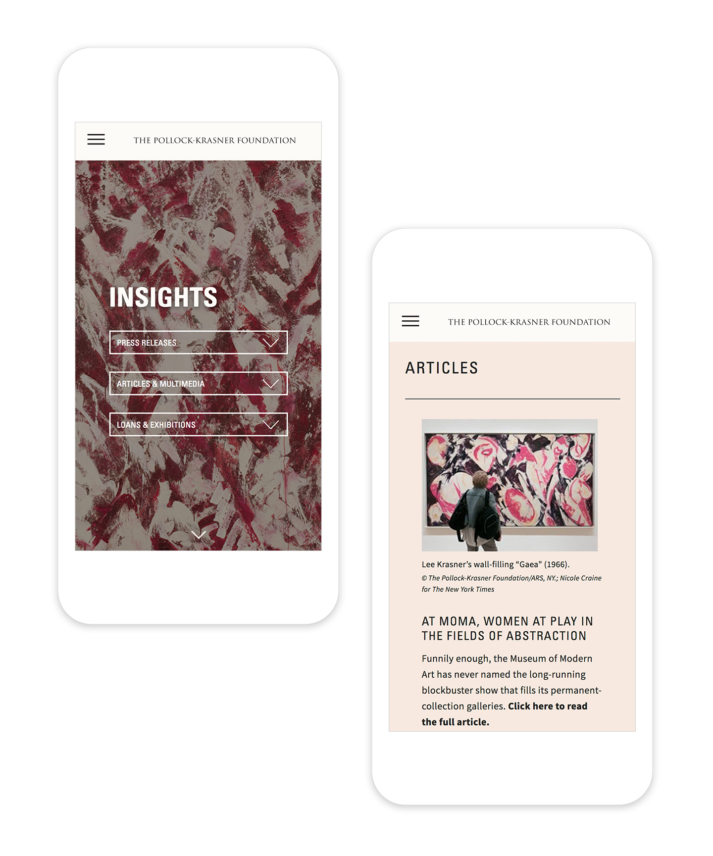 2 responsible mobile page designs showing the Insights page