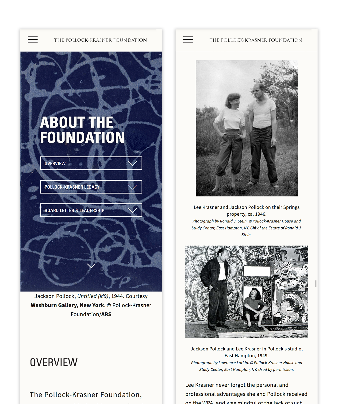 2 responsive mobile page designs: the landing experience for the About page and a set of photographs of Lee Krasner and Jackson Pollock