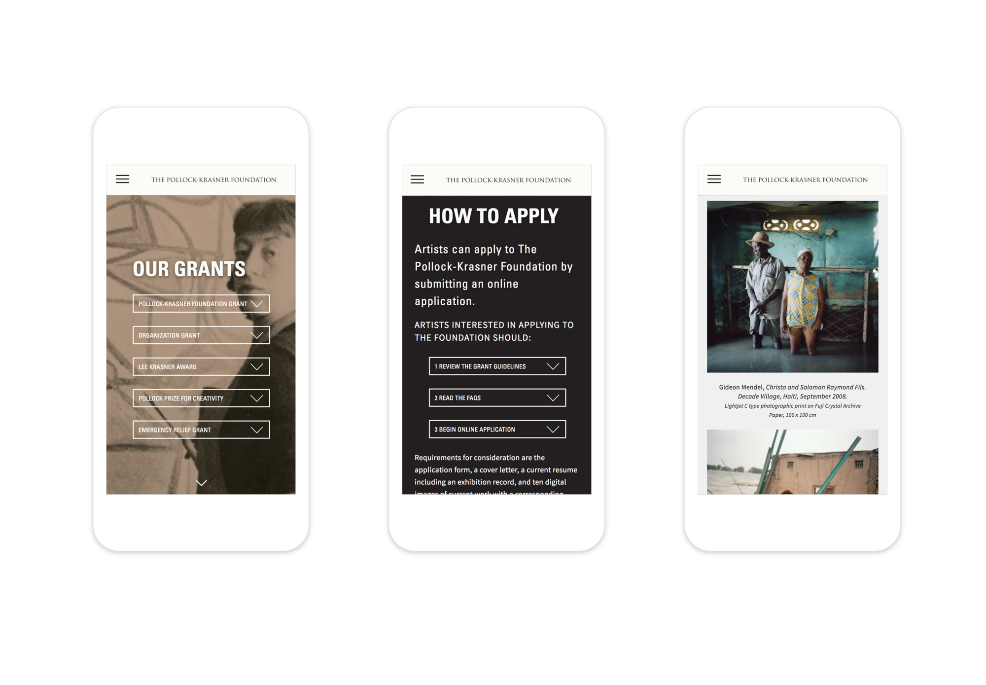 3 responsive mobile webpages: the Our Grants page, the How to Apply page, and a page featuring work from current grant recipients