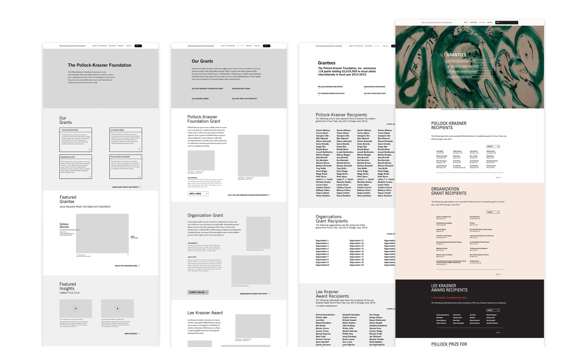 Wireframes and final page design to show translation of user-experience and visual design. Wireframes include the Homepage, Our Grants page, and the Grantees list