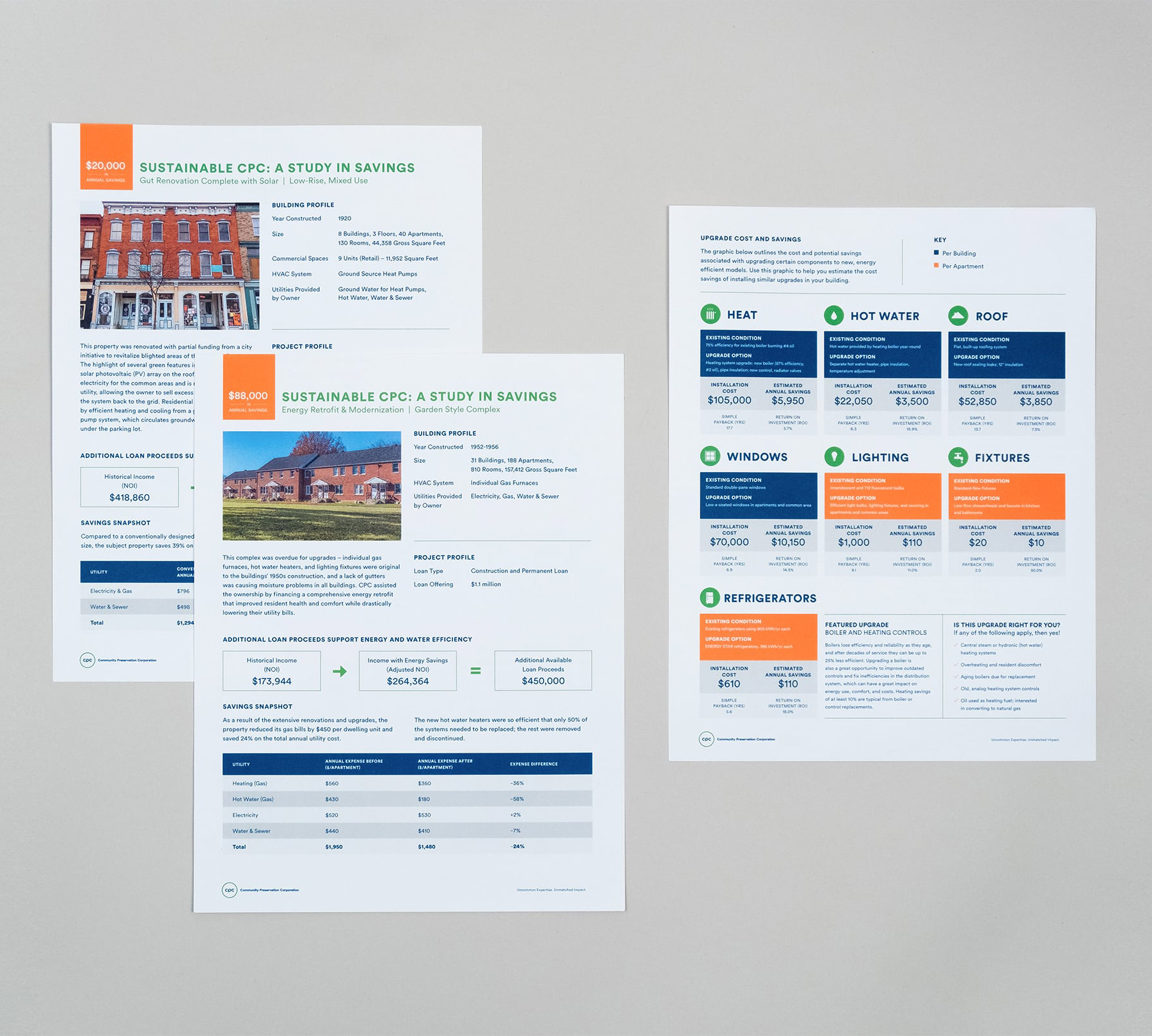 Set of property one-sheets showing front and back design