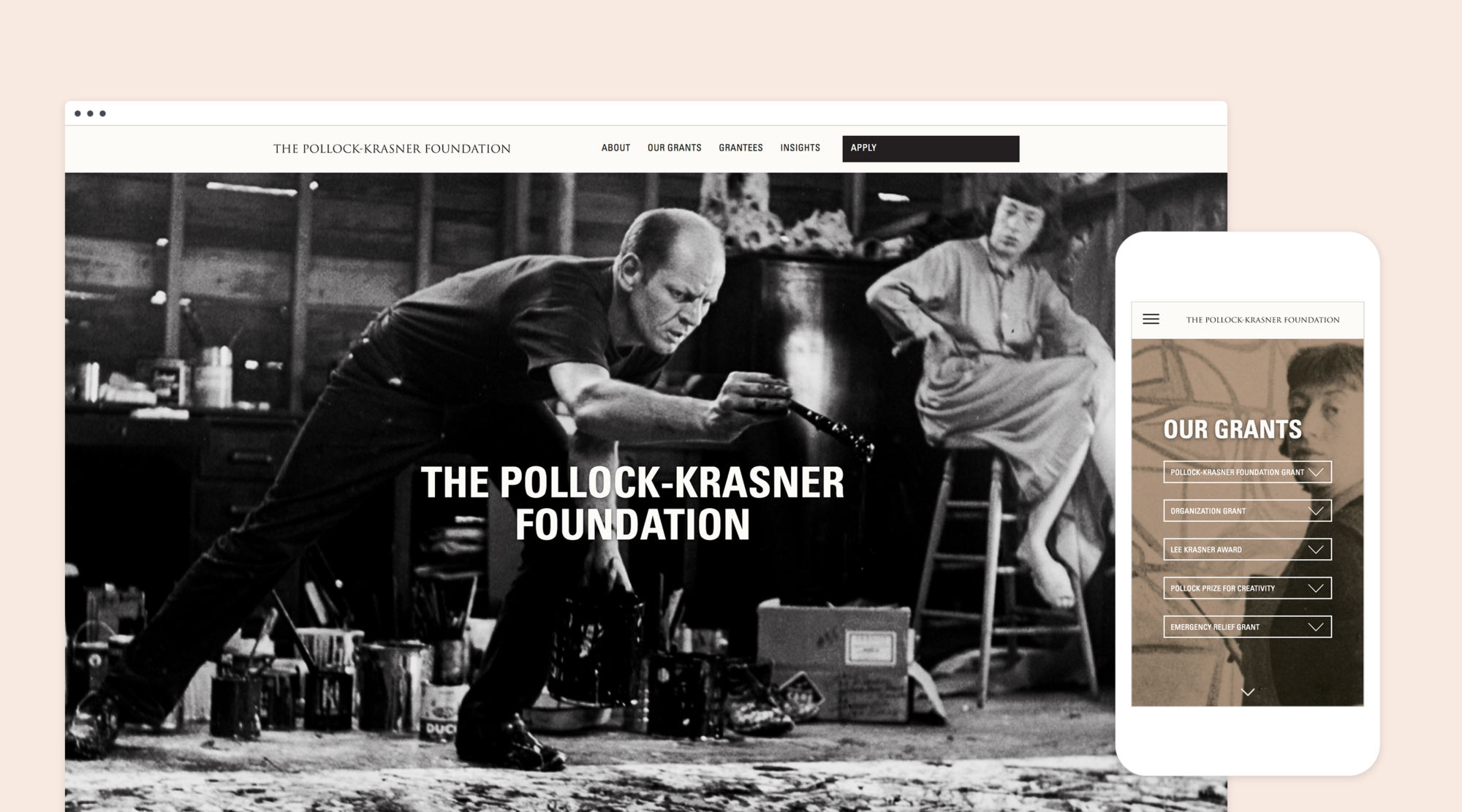 Mock up of responsive desktop and mobile design for the Pollock-Krasner Foundation's website redesign