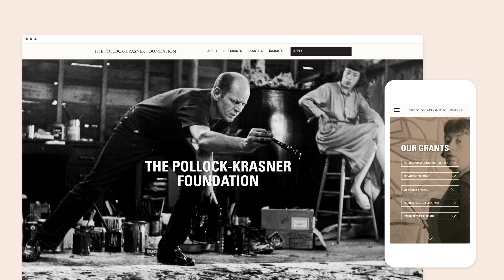 Mock up of responsive desktop and mobile design for the Pollock-Krasner Foundation's website redesign