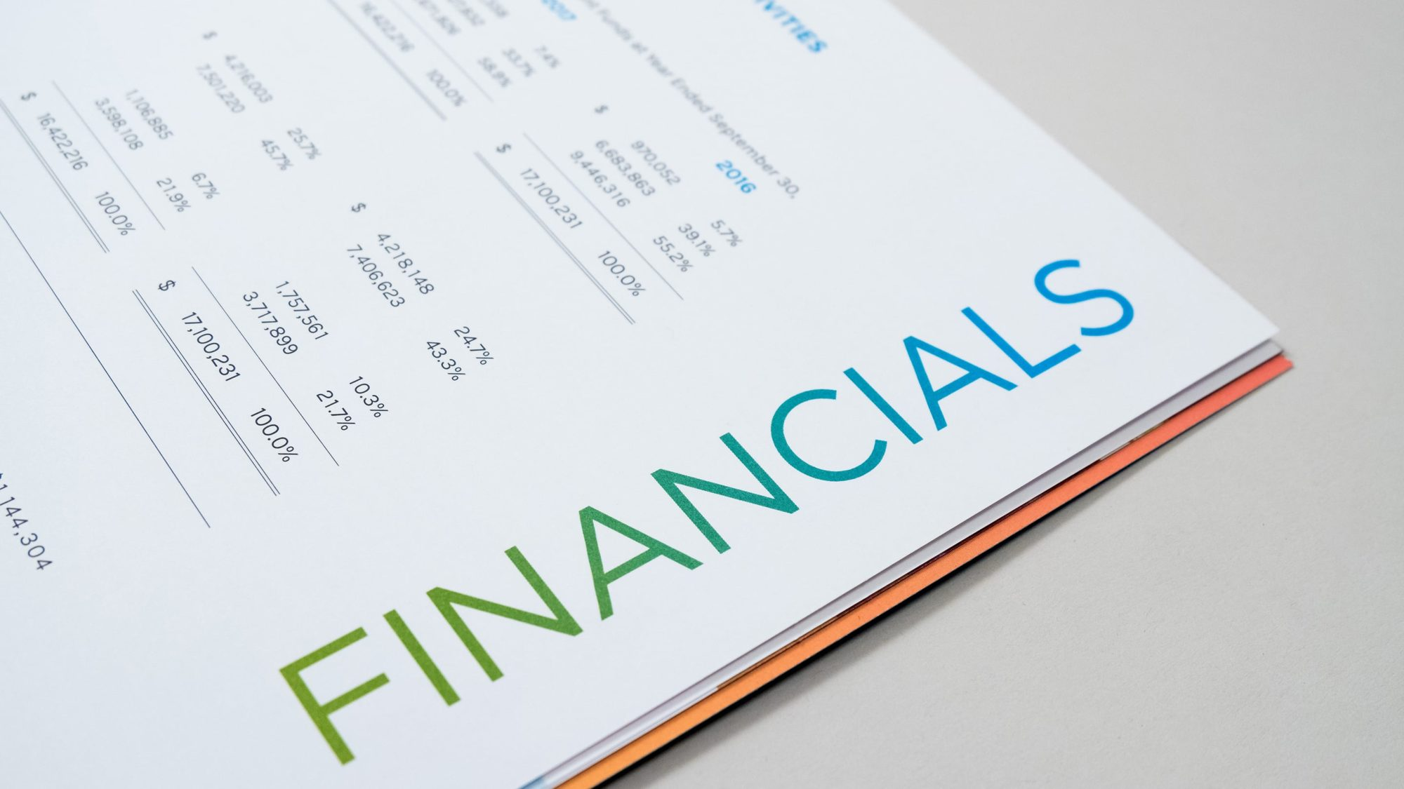 Type design on Financials headline using the same green to blue gradient that is on the report's cover