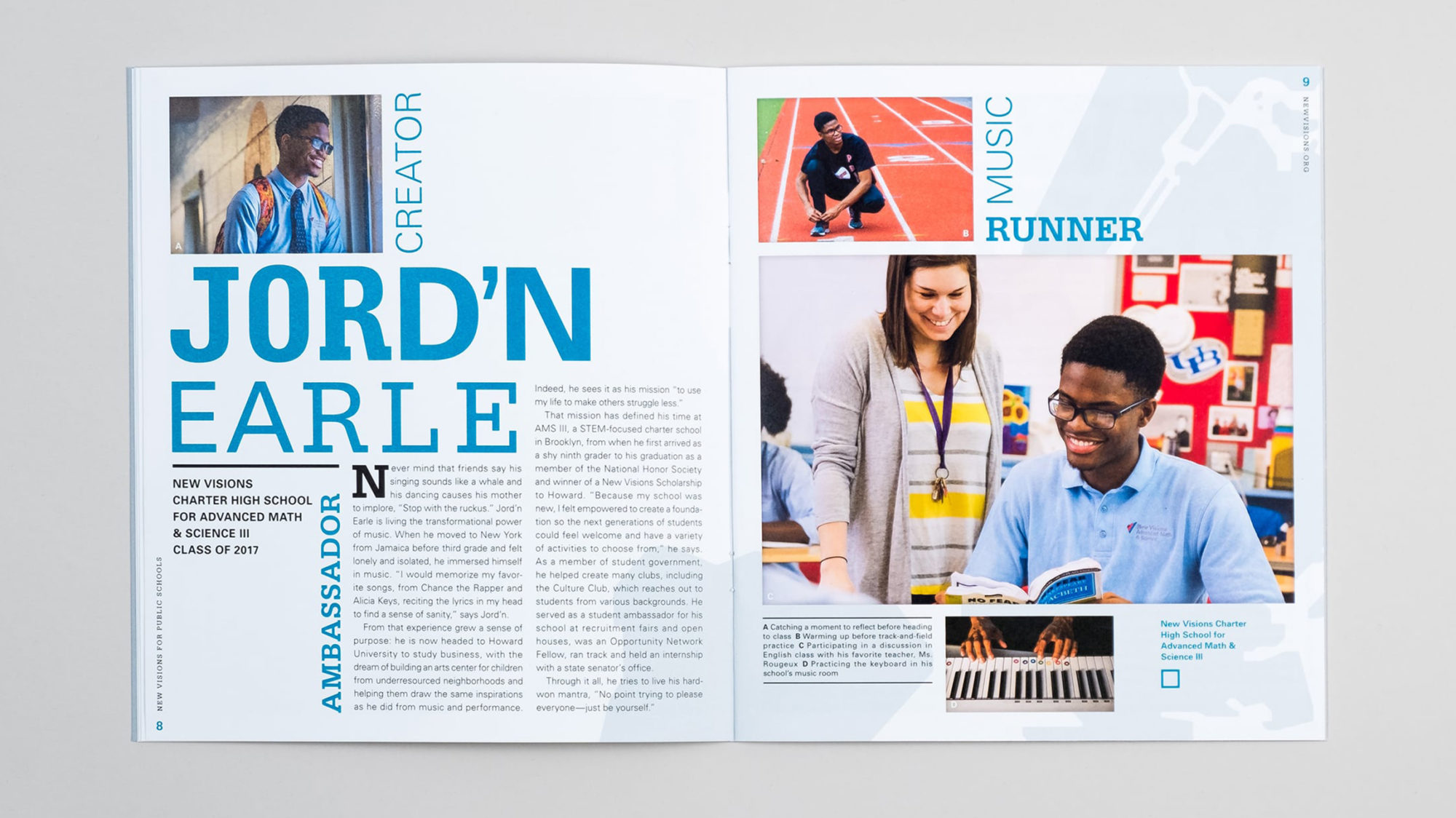 Full spread of student profile for Jord'n Earle with word collage, photography, and custom type treatments