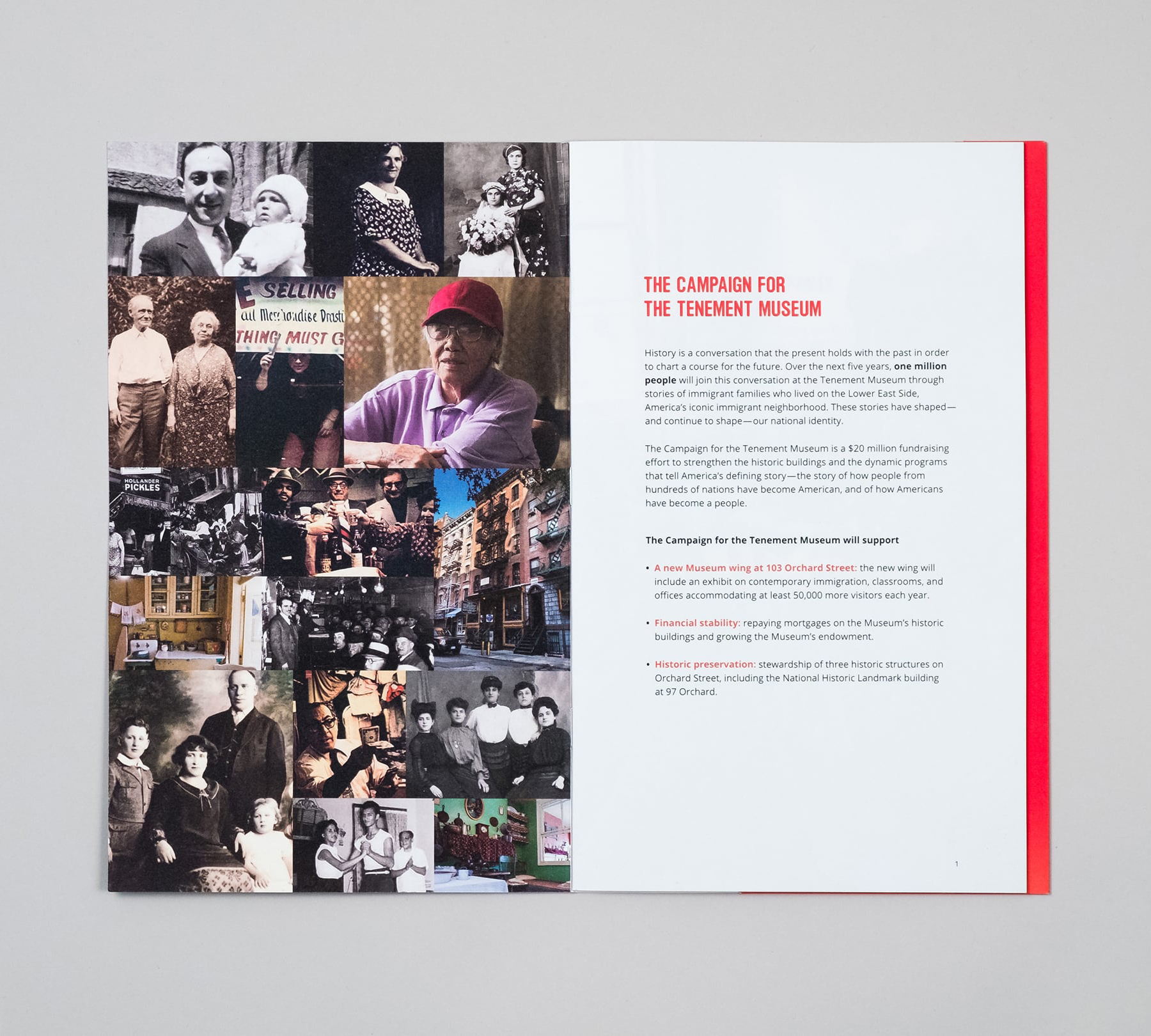 Interior spread of fundraising campaign case statement with photo collage of past tenement residents