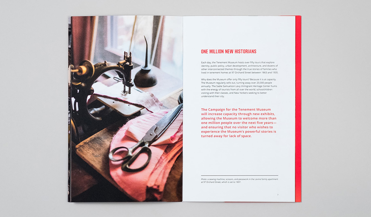 Interior spread with a photograph of a sewing table