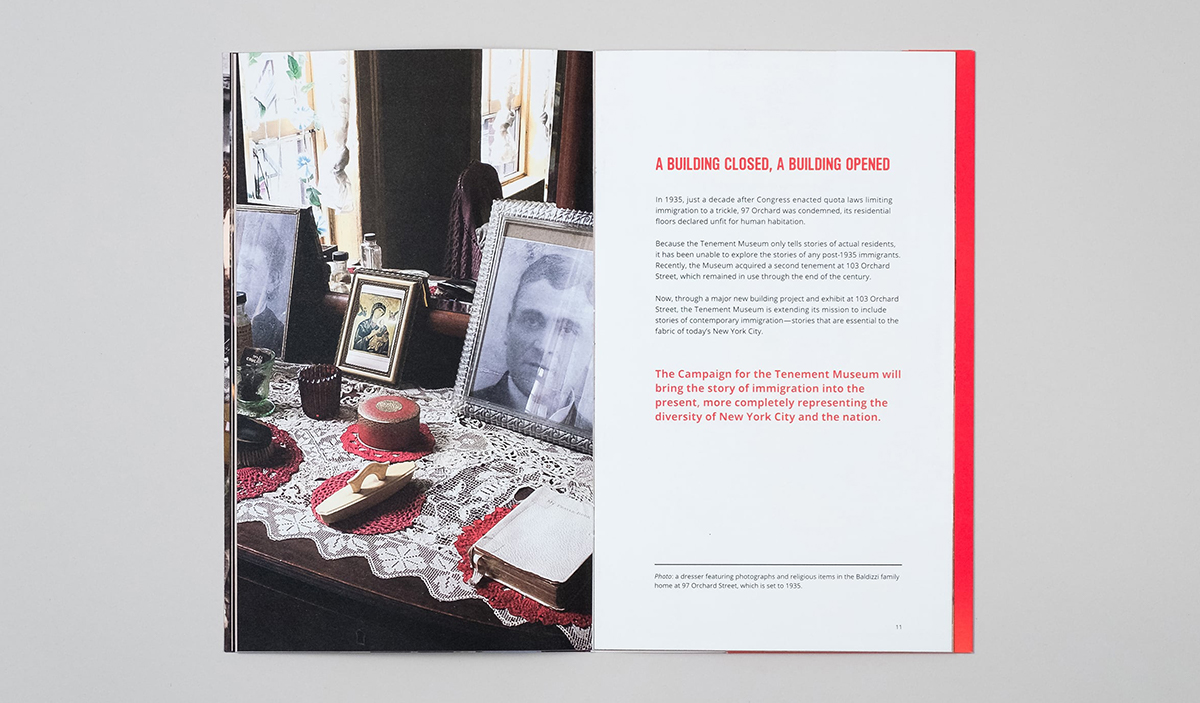 Interior spread with a photograph of a recreated tenement resident's dresser
