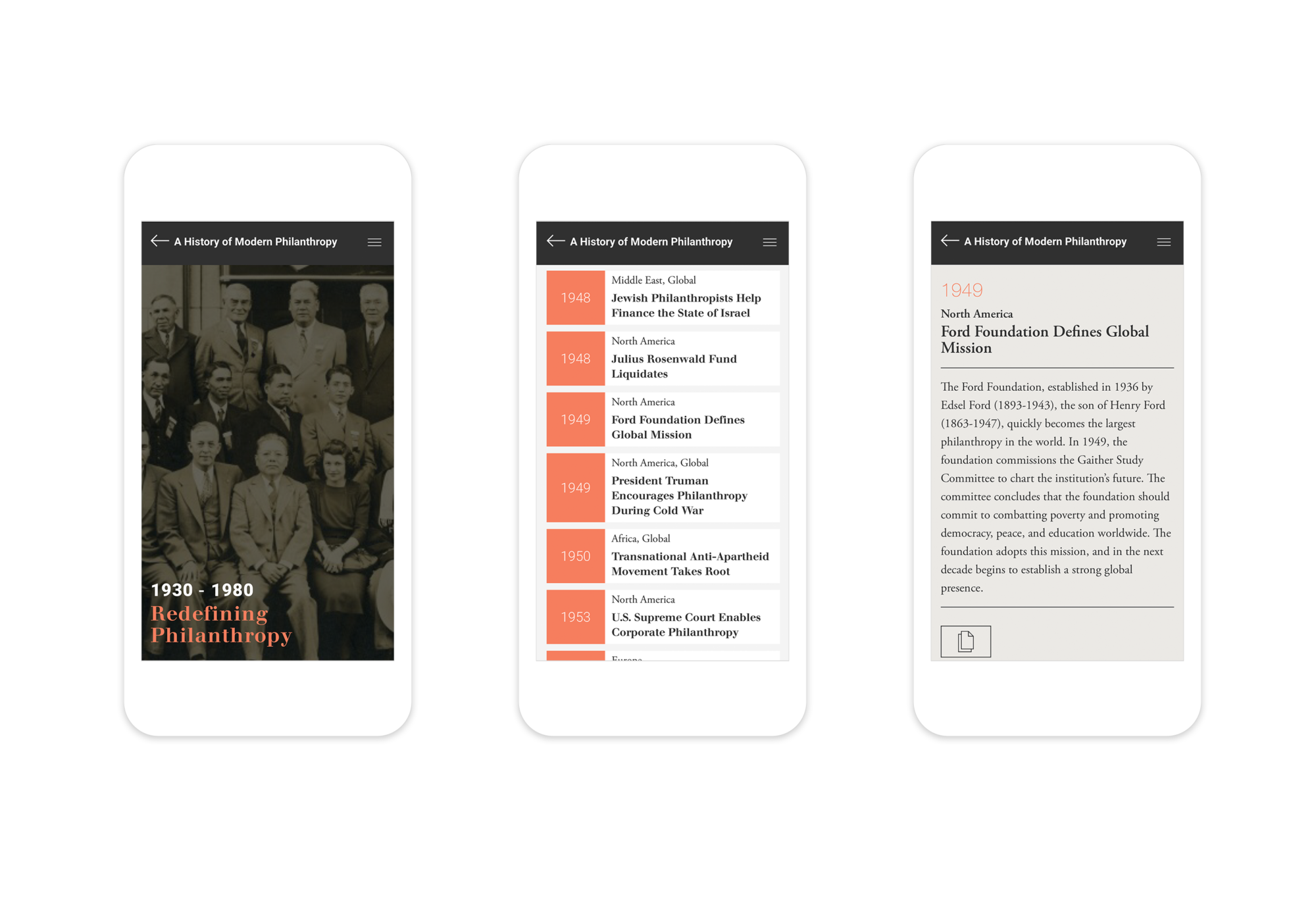 3 responsive mobile page designs: intro to the Modern Philanthropy era (1930-1980), interactive timeline, and a detailed timeline entry