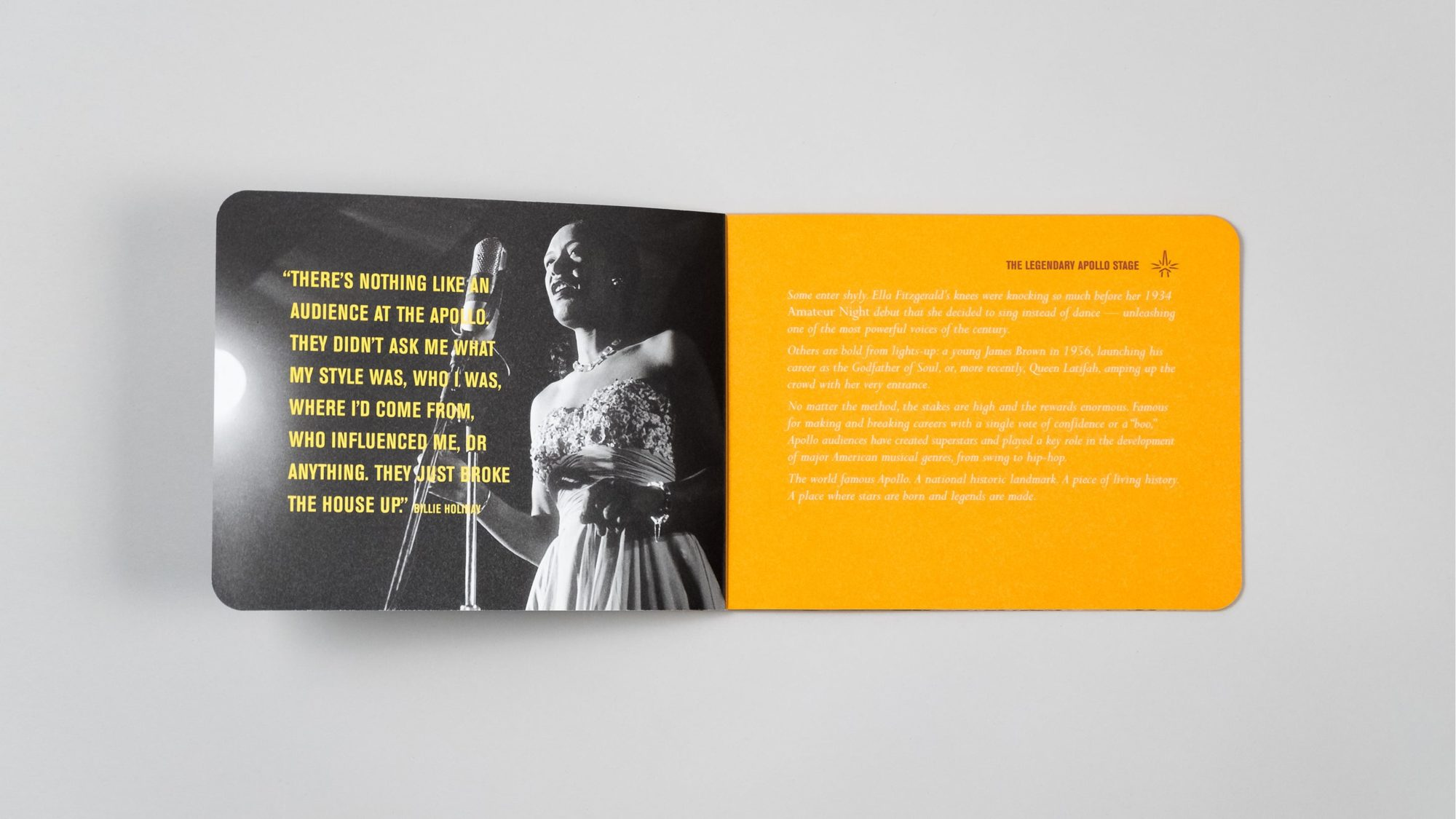 Interior spread with striking image of Billie Holiday on stage. Accompanying the image is a quote from her about what it was like to perform at the Apollo Theater
