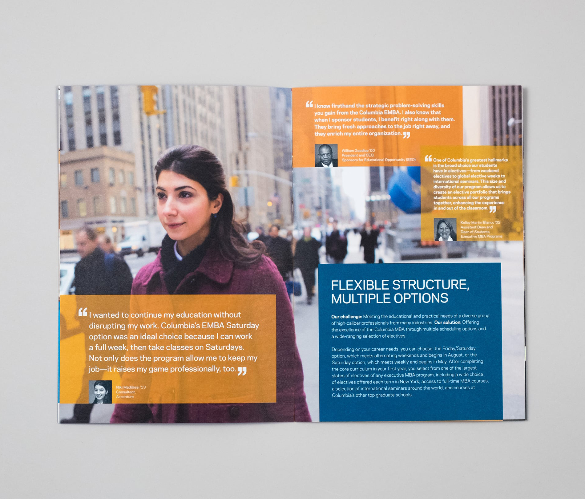 Interior spread with full-page image of former student walking on the street in New York City with various testimonials from other students