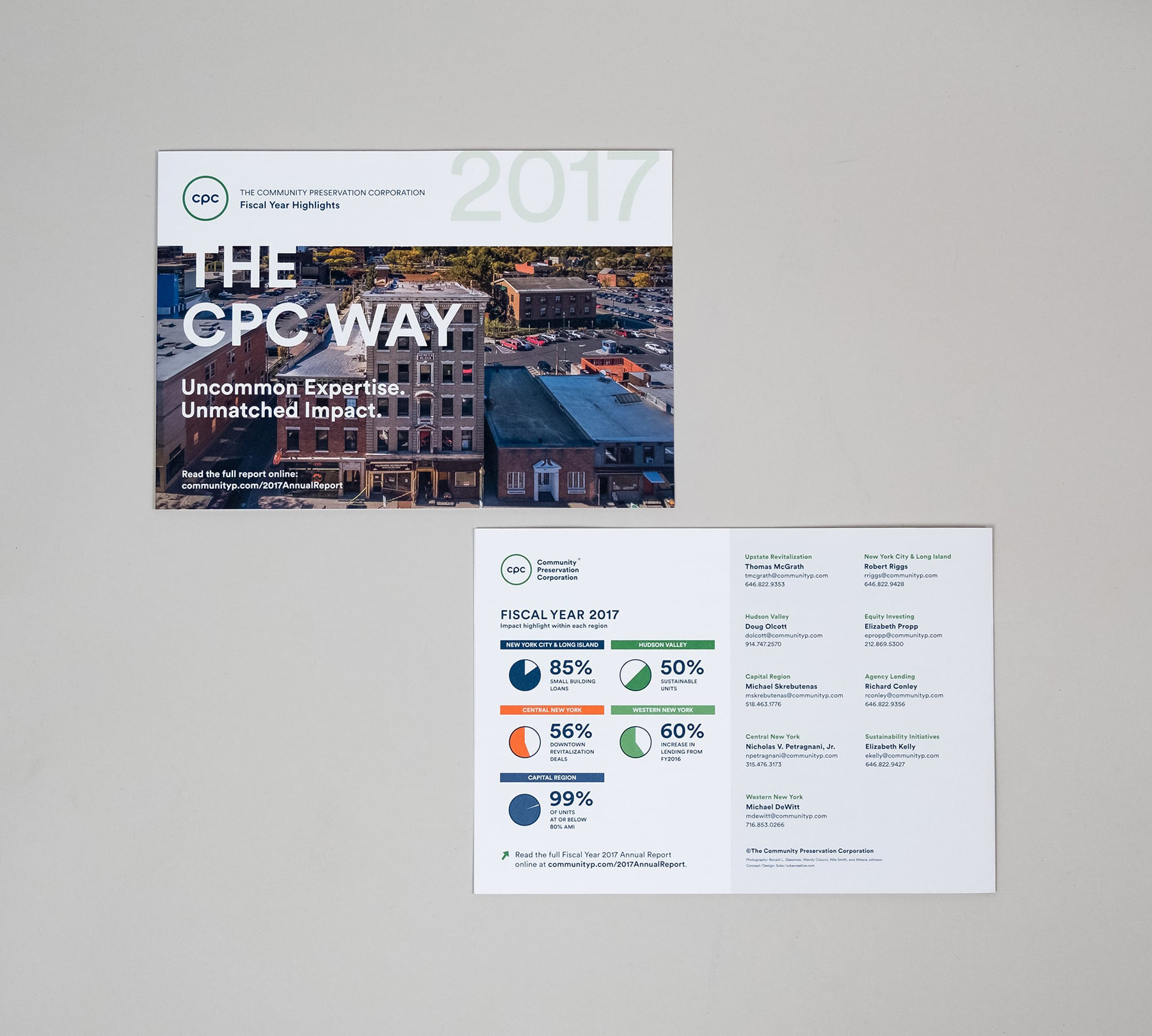 Front cover for the annual report printed teaser with a photograph of a CPC property and back cover with contact information and 2017 financial highlights