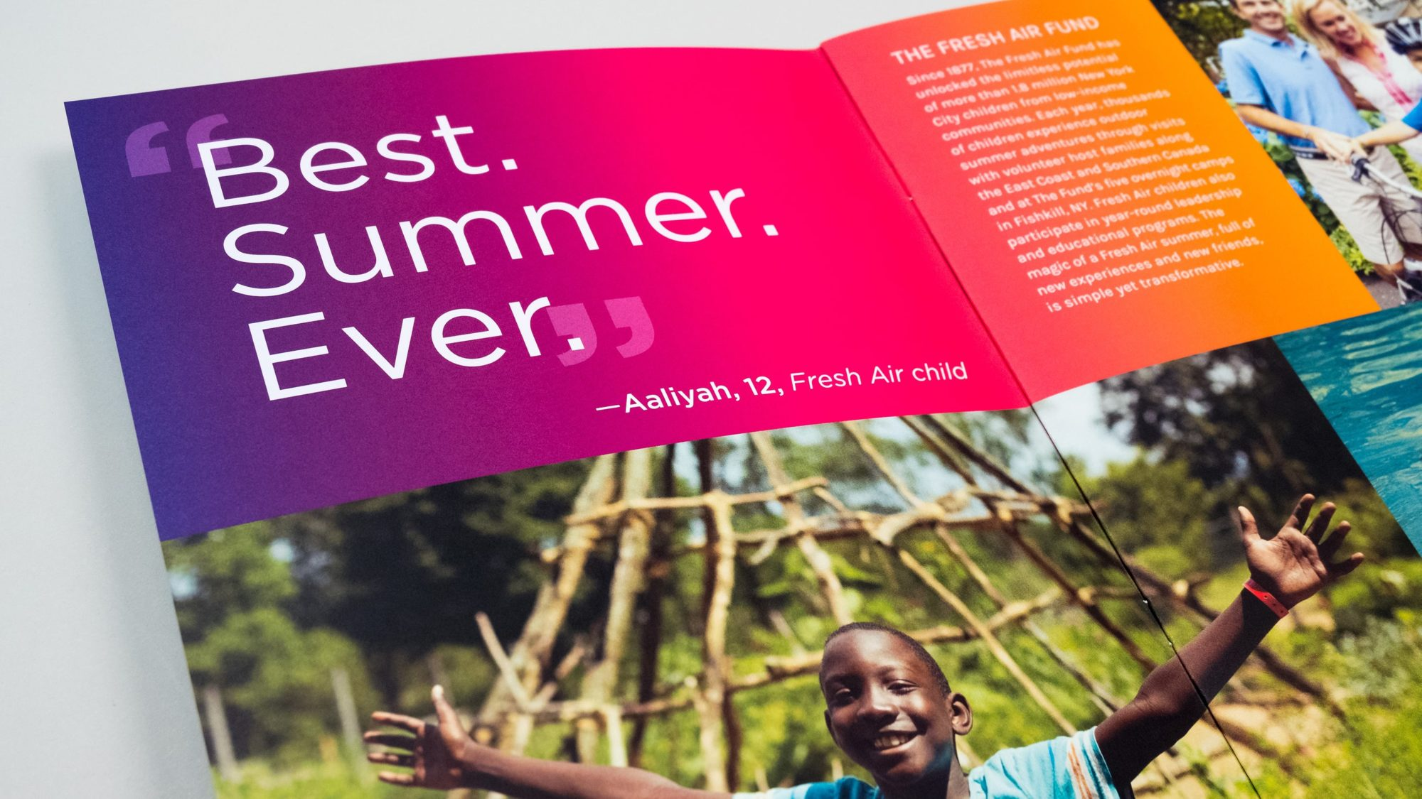 "Opening spread with bright purple to orange gradient and a quote from a recent Fresh Air Fund participant, Aaliyah, age 12: ""Best. Summer. Ever."""