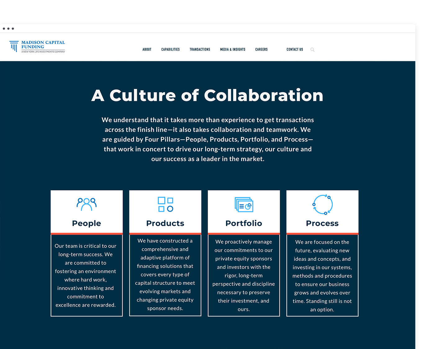 Desktop design of page on corporate culture with custom iconography to represent the company's values