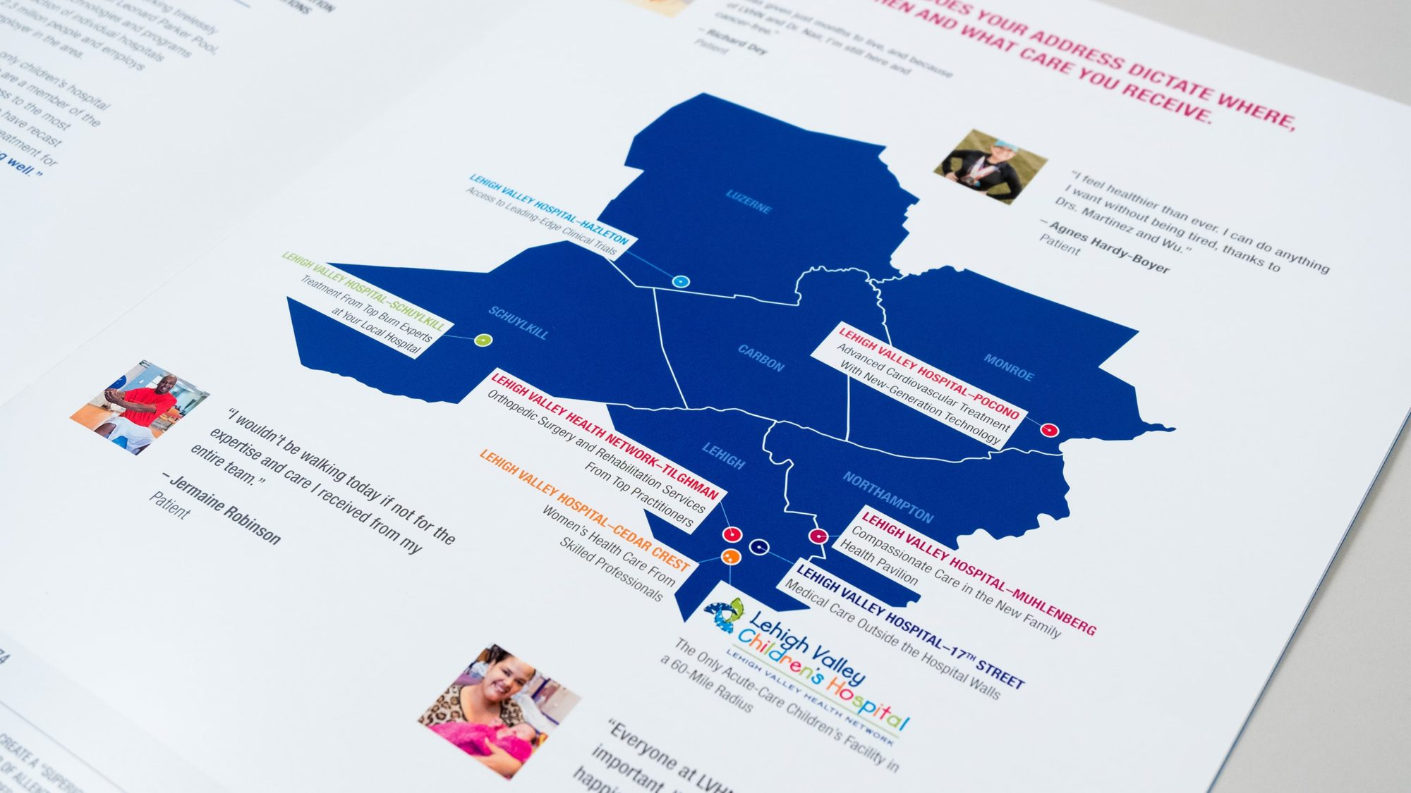 Illustrated map showcasing the locations of hospitals in the network and testimonials from satisfied patients