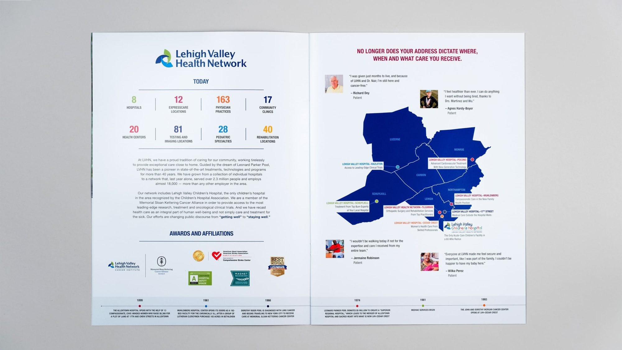 Interior spread showing infographic with stats on the network and a map of hospital locations