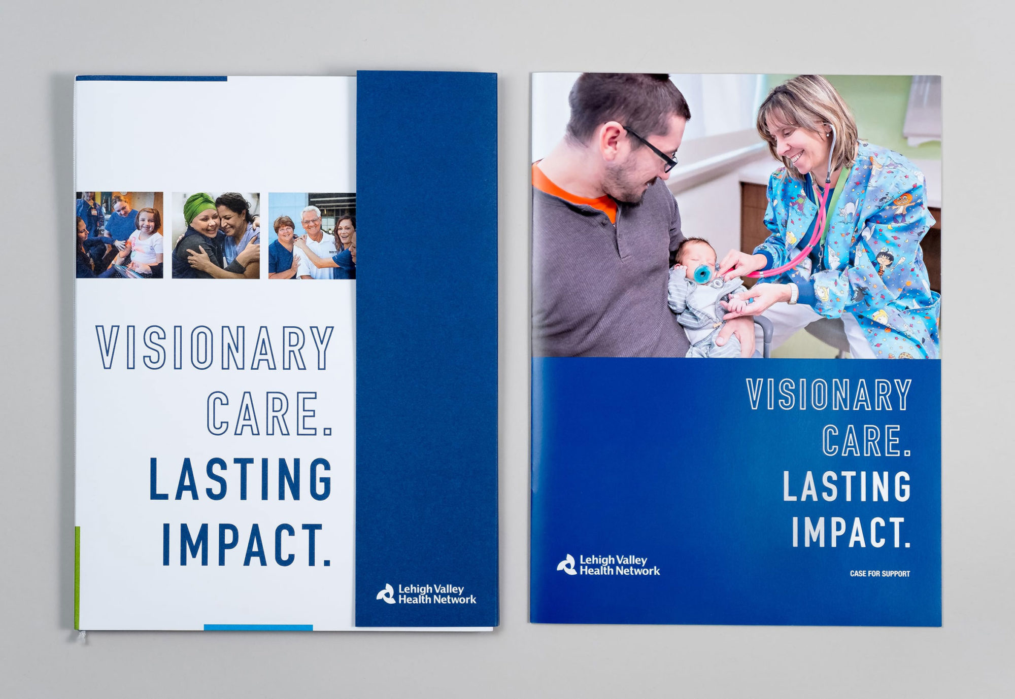 "Cover design for fundraising campaign's custom folder as well as case statement, both showing patient photography and the campaign title ""Visionary Care. Lasting Impact."""