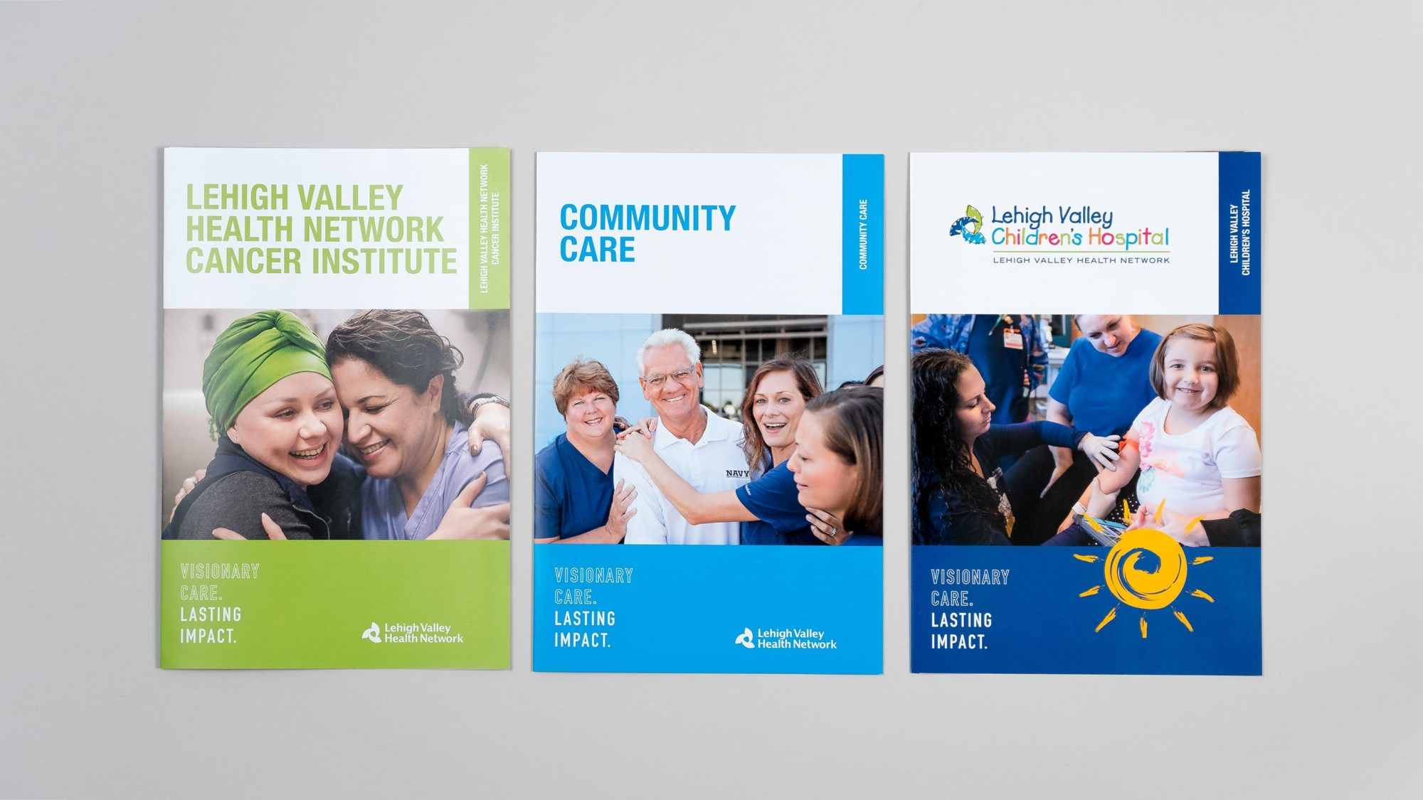 Covers for three tri-fold brochure priority pieces: LVHN's Cancer Institute, Community Care, and the Lehigh Valley Children's Hospital