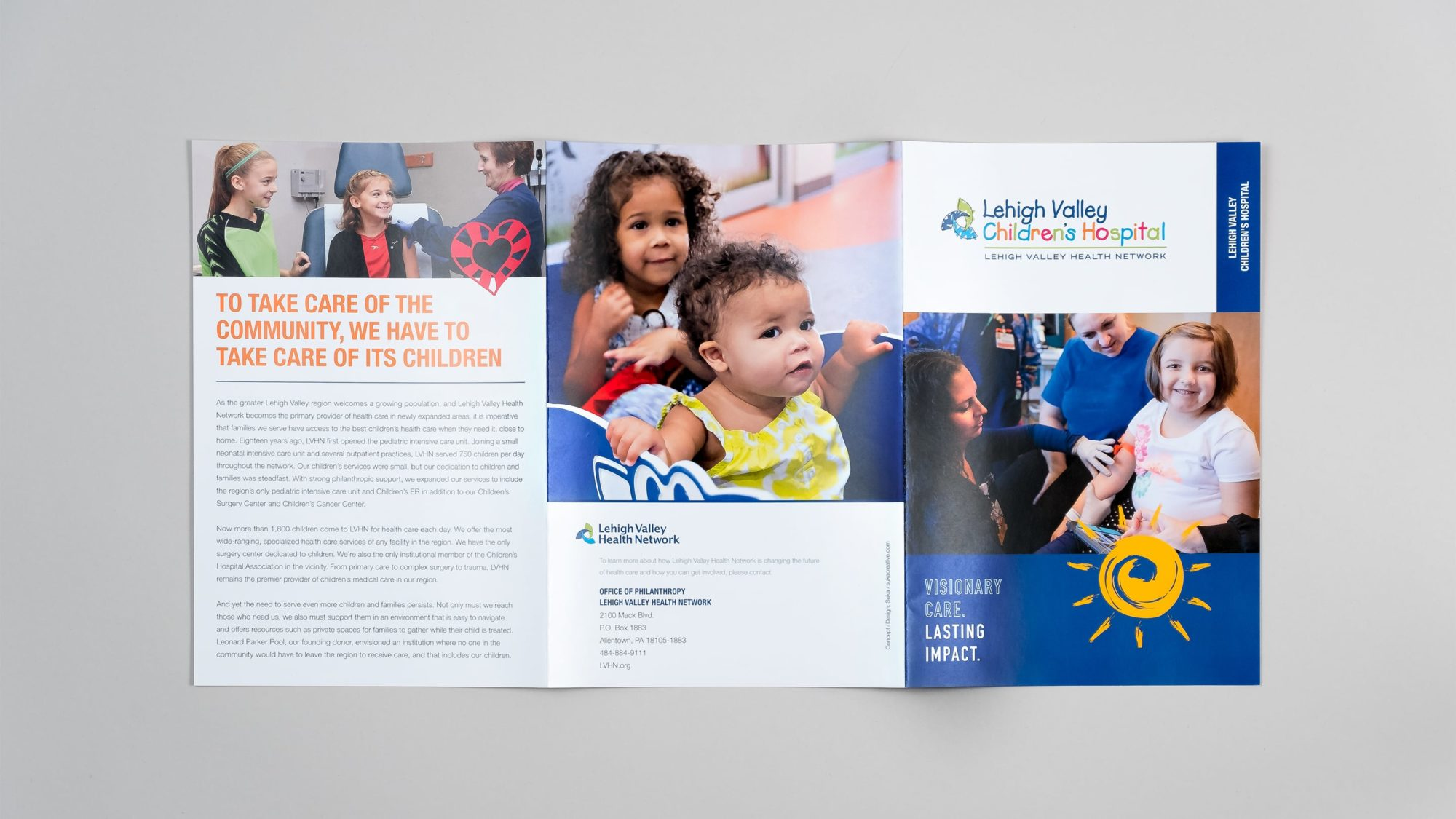 Tri-fold brochure design for the Children's Hospital priority piece