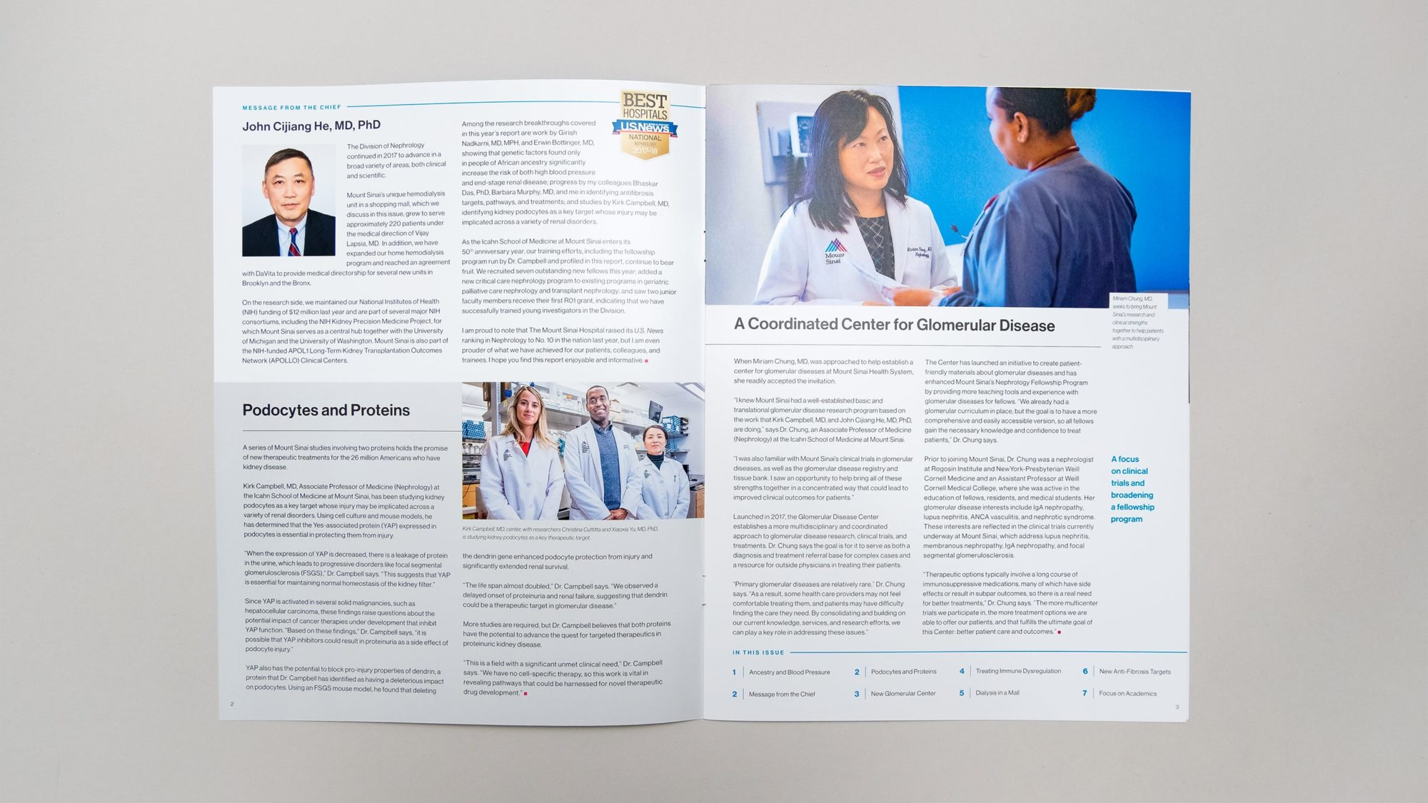 Opening spread from Division of Nephrology report showing an example of our flexible template. Rich photography supplements articles on advancements at the hospital.