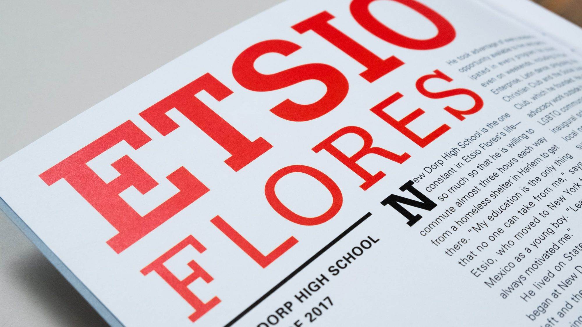 Detail of type treatment for Etsio Flores' student page