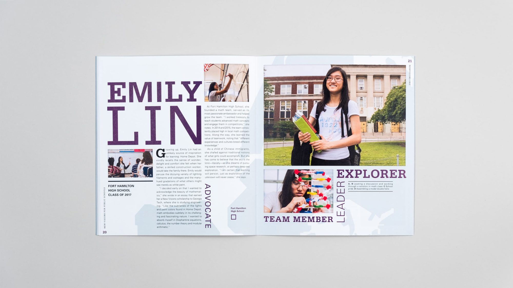 Full spread of student profile for Emily Lin with word collage, photography, and custom type treatments