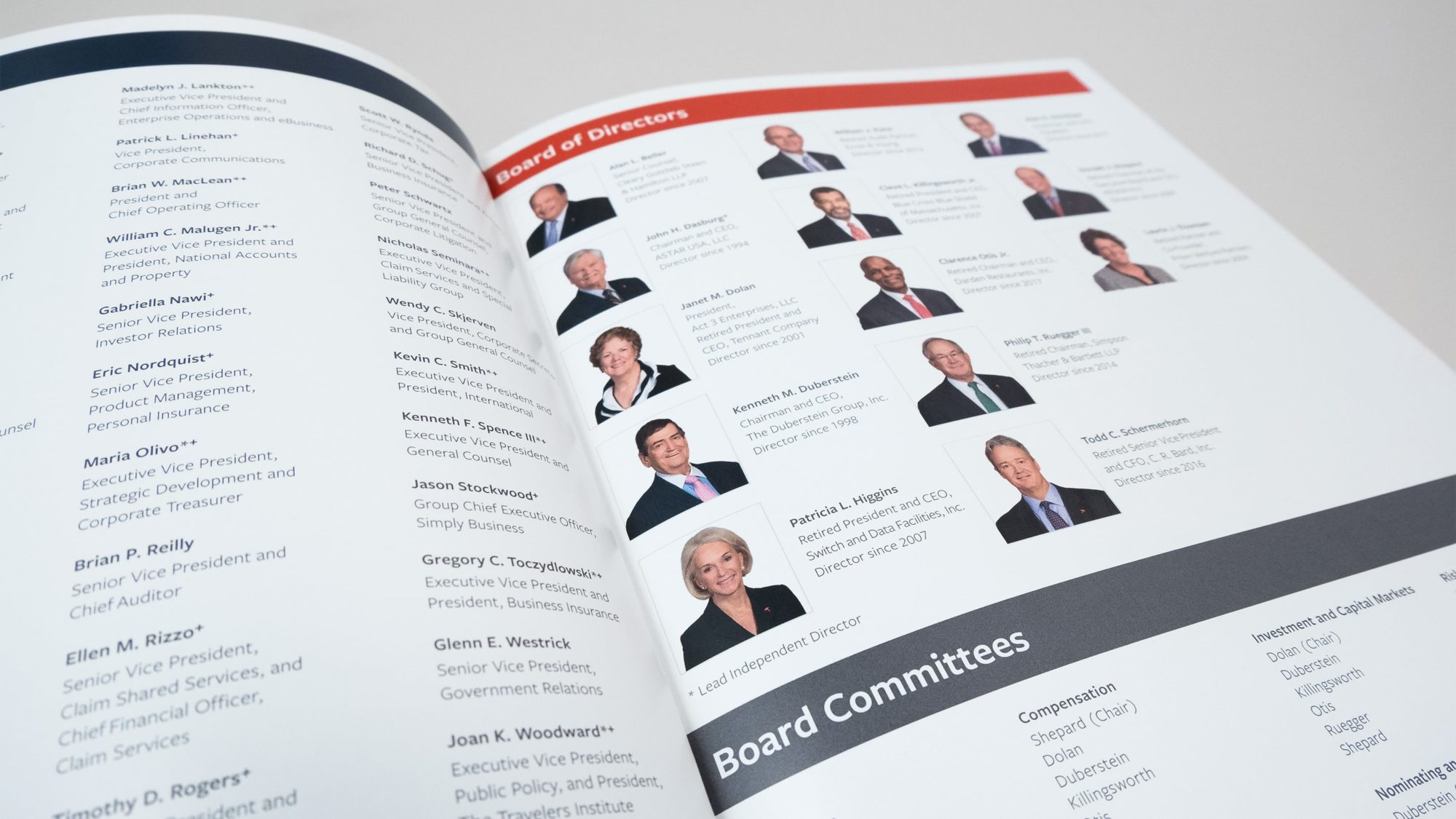 Page showing Travelers' Board of Directors with headshots, names, and titles
