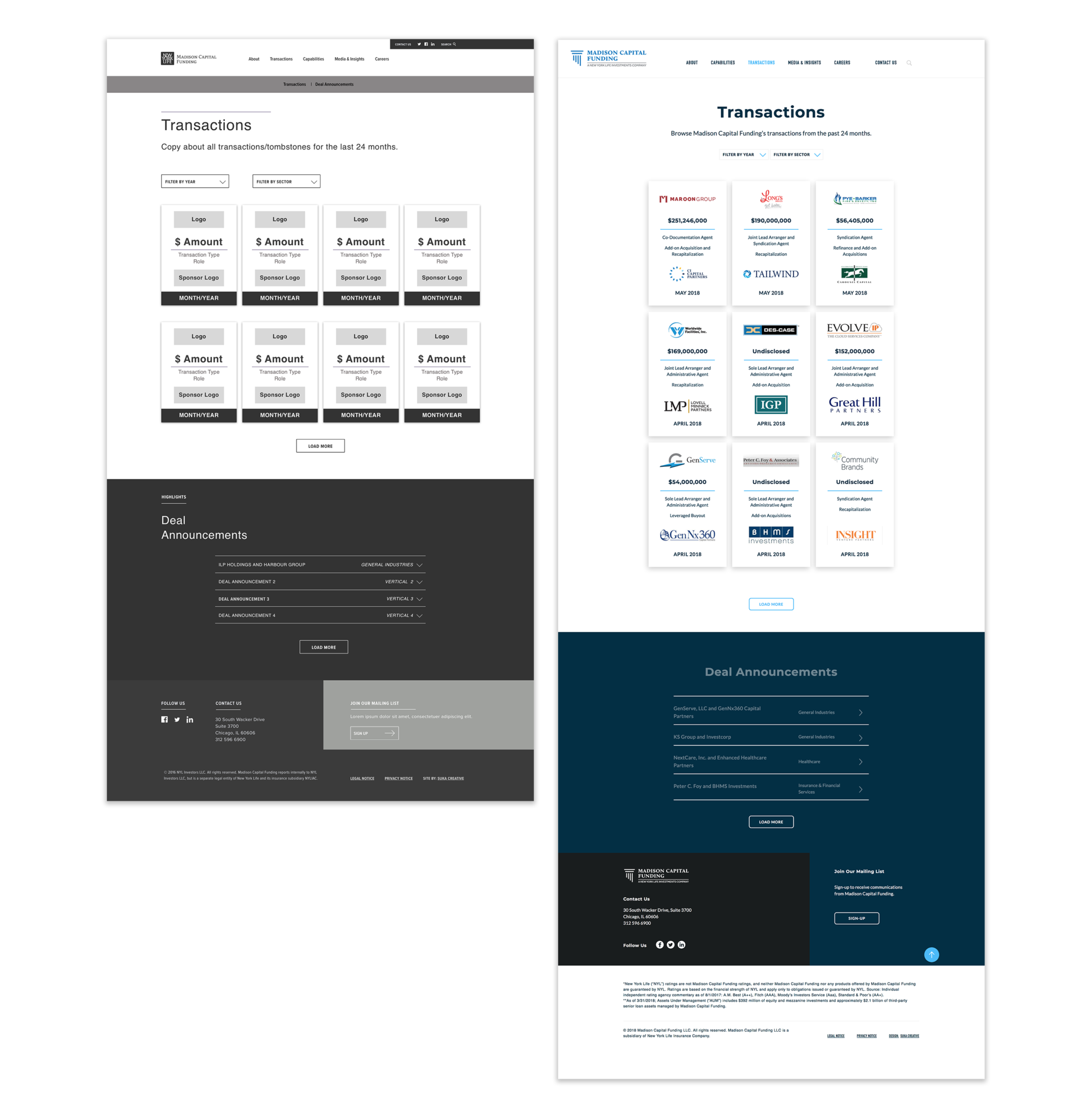 Wireframe and final page design to show translation of user-experience design to visual design for interactive Transactions page