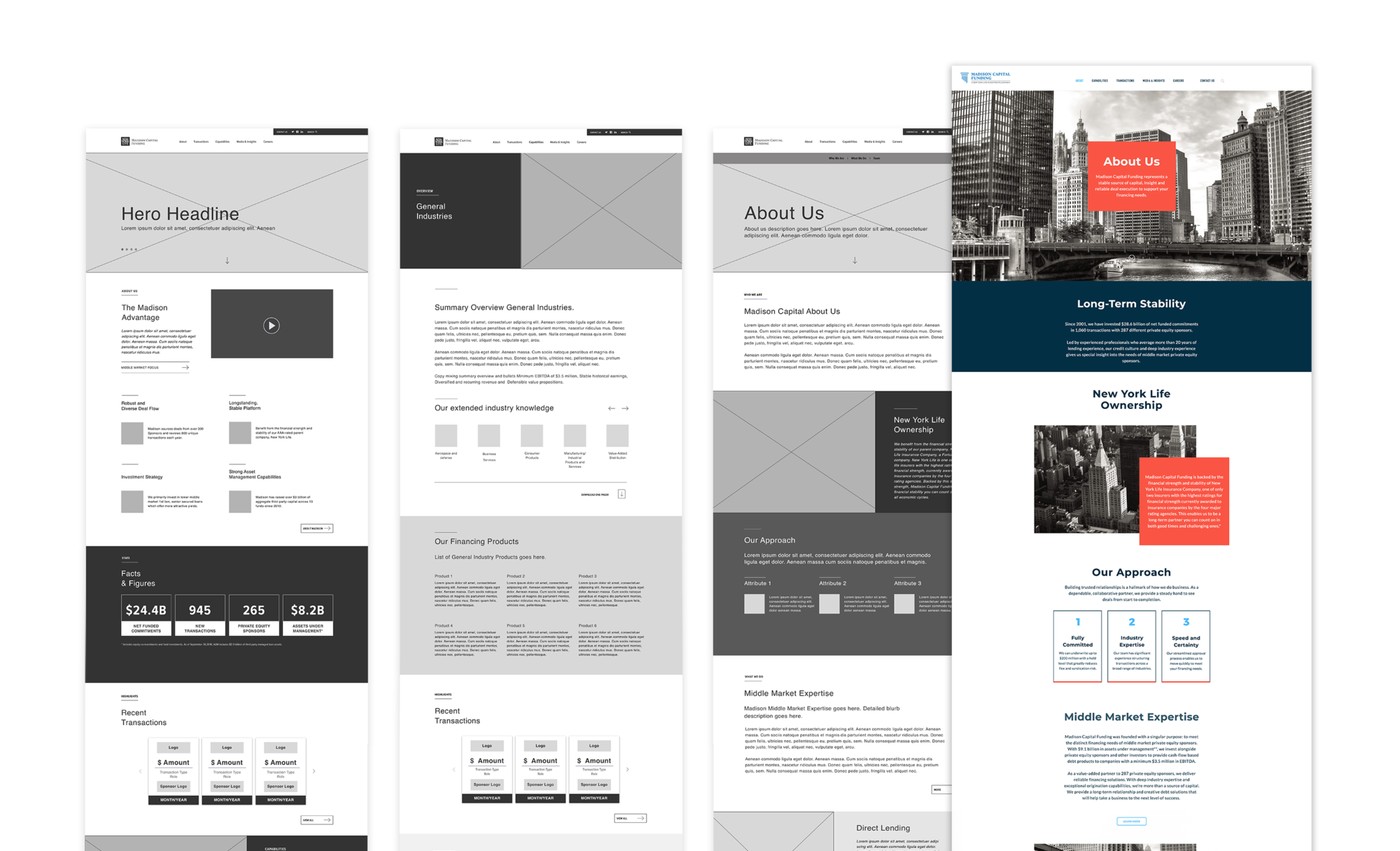 Wireframes and final page design to show translation of user-experience and visual design. Wireframes include the Homepage, Industries page, and the About page.