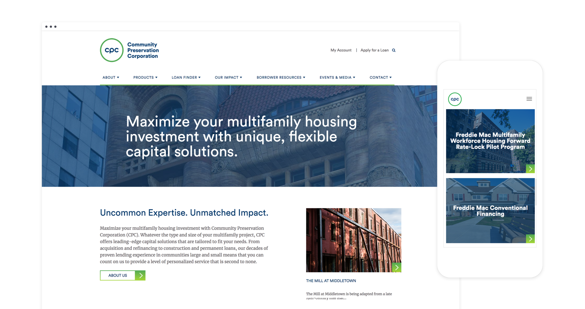 Mock up of responsive desktop and mobile design for CPC's new corporate website