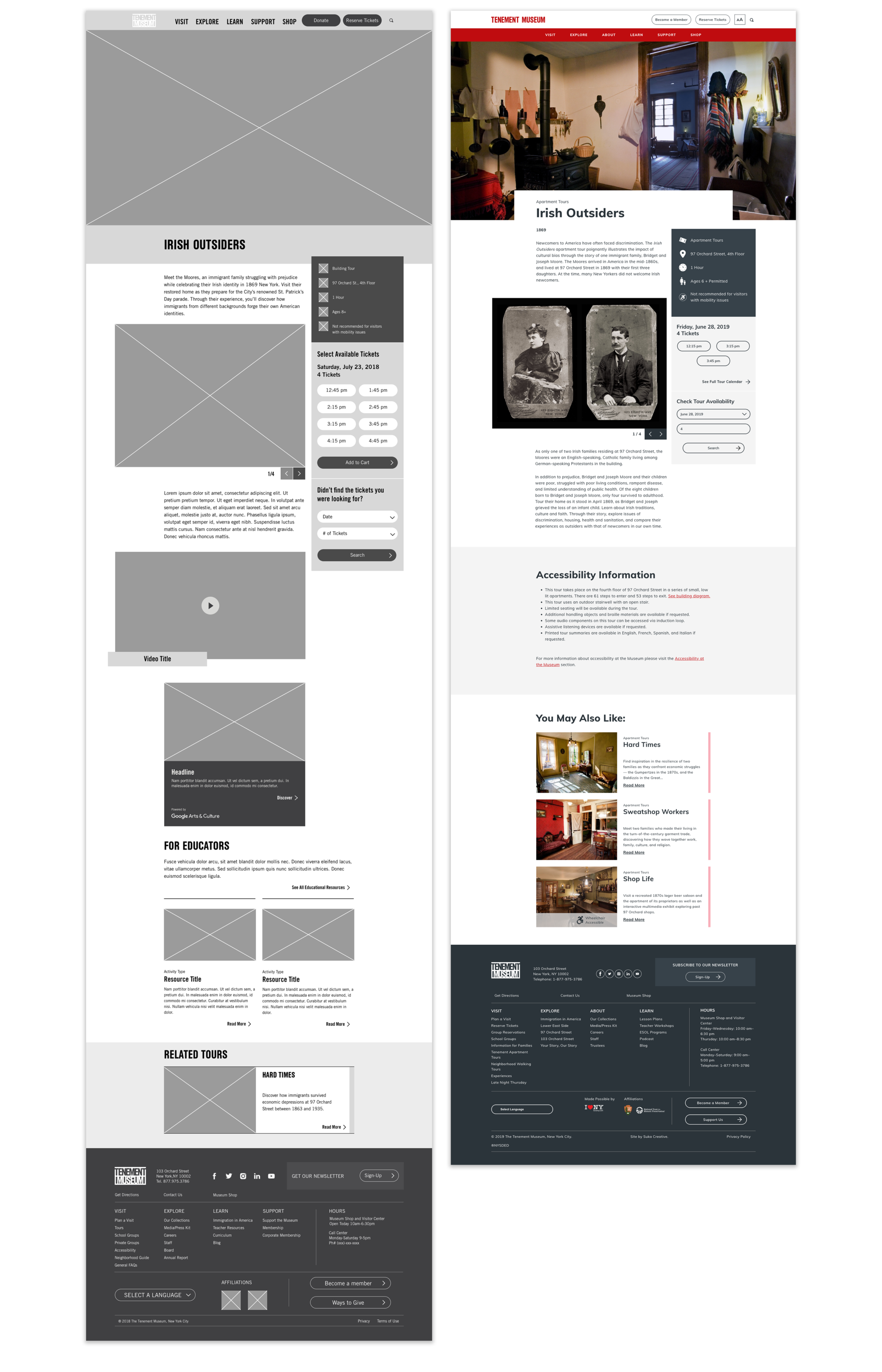 Comparison between wireframe and visual design for one of the Tenement Museum's new tour pages.
