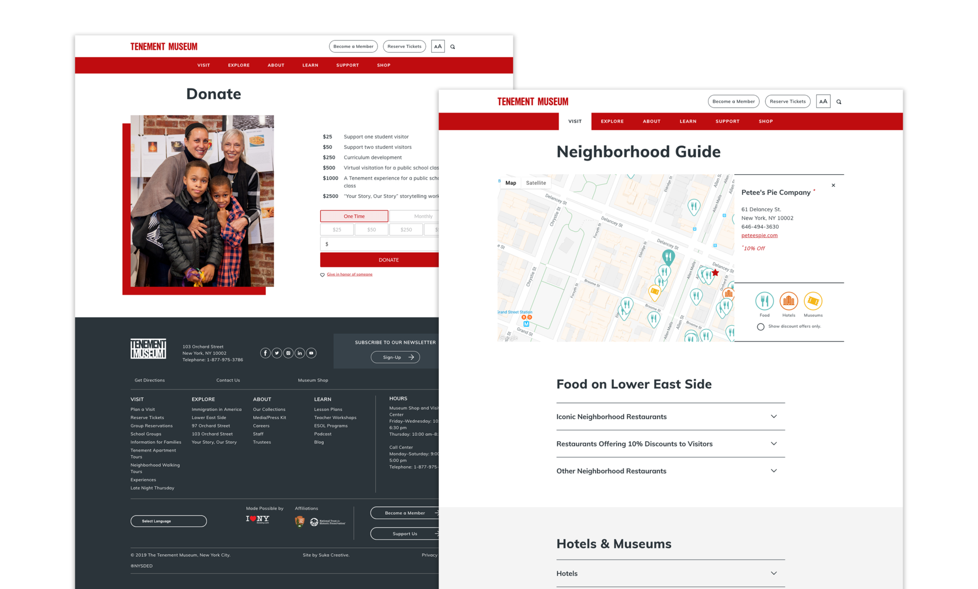 The Tenement Museum's new donation page as well as the interactive Neighborhood Guide showing restaurants, cafes, hotels, and other museums located in the Lower East Side.