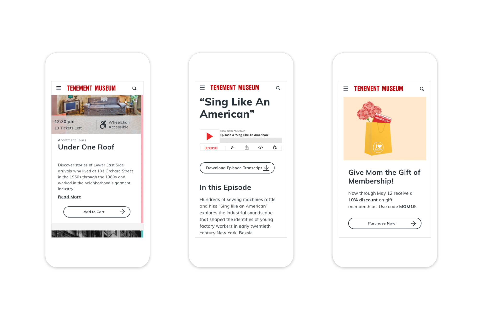 3 responsive mobile webpages showing tour search results, a podcast episode, and a membership promotion.