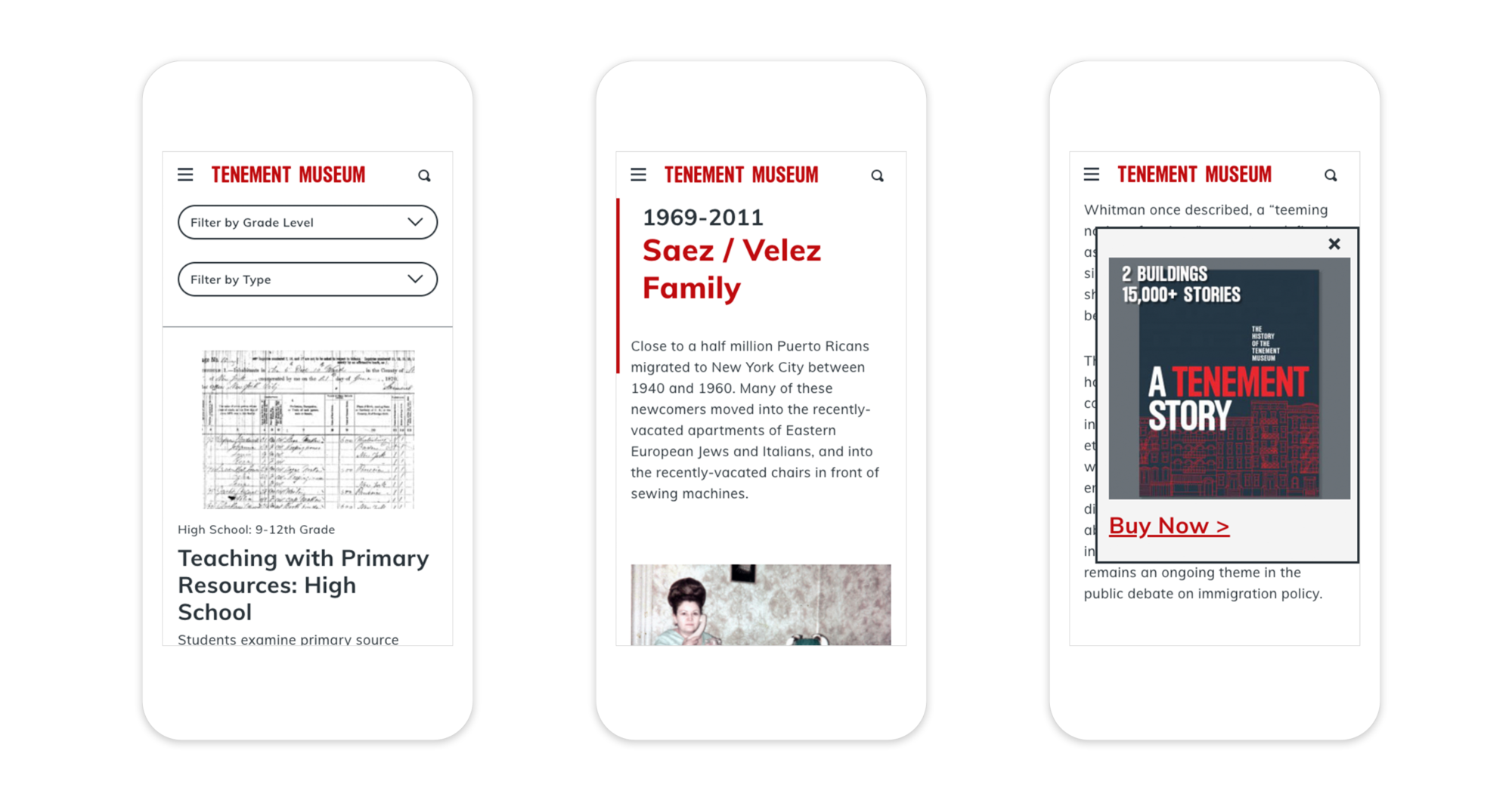 3 responsive mobile webpages showing the educational resource filter system, the interactive timeline showcasing the history of 97 Orchard Street, and a retail promotion pop-up.