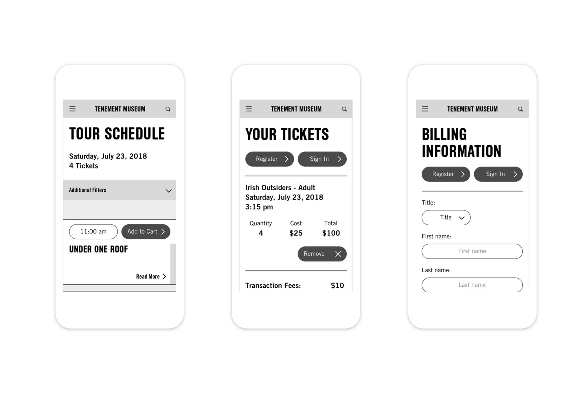 Mobile wireframes showing a portion of the Tenement Museum's mobile-friendly ticketing system.