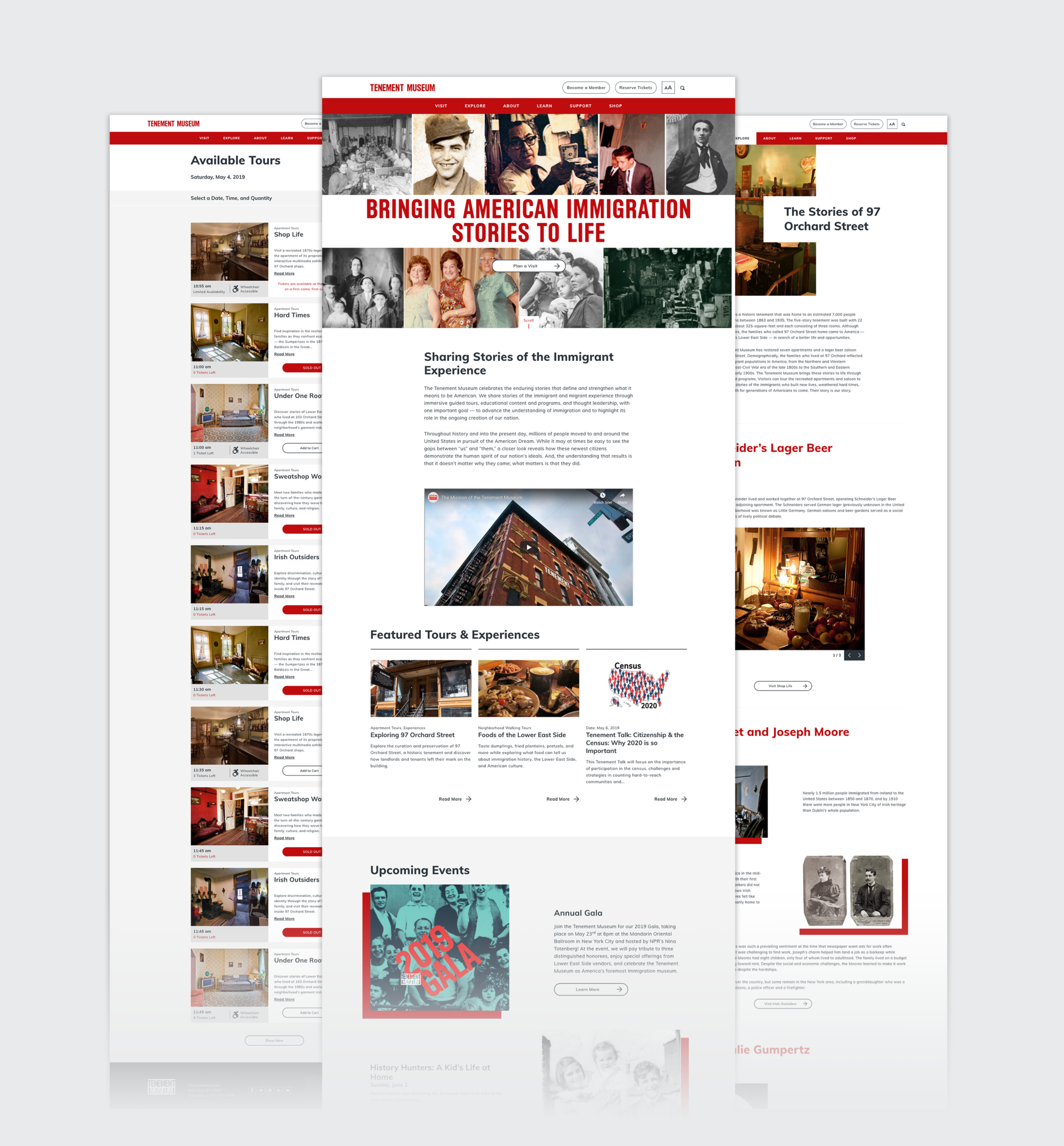 3 desktop pages showcasing website redesign aesthetic: Homepage, Available Tours search results, and the 97 Orchard Street timeline.