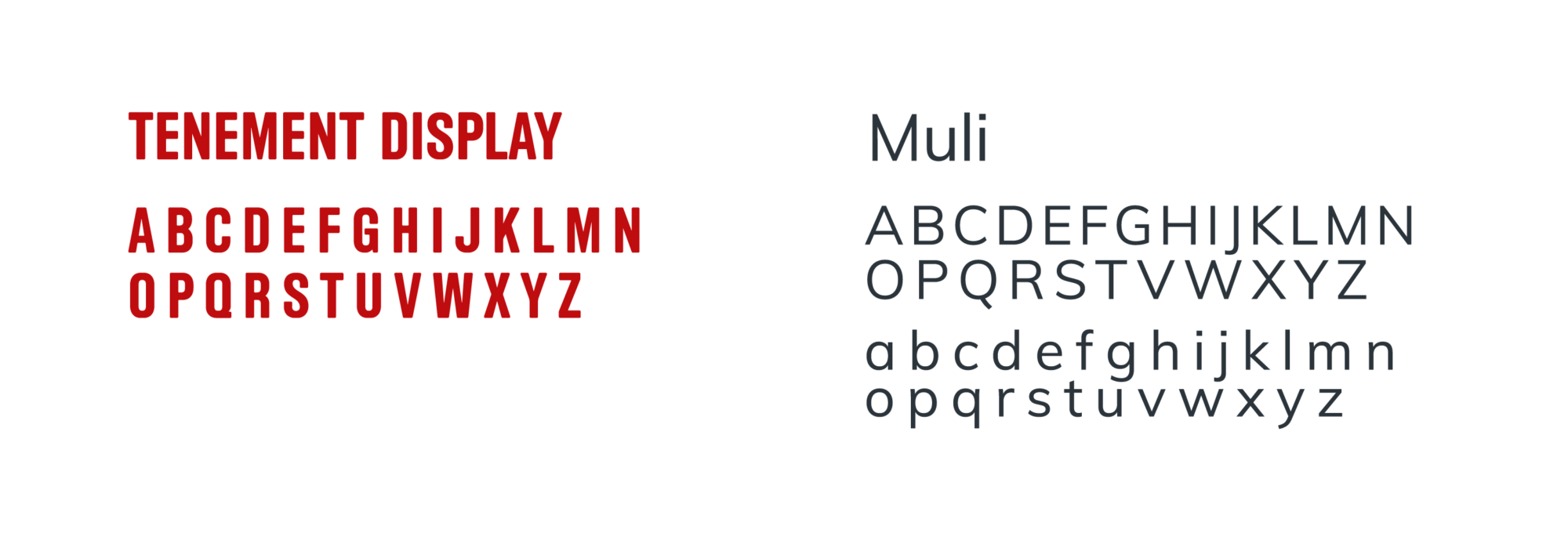 Typography choices (Tenement Display and Muli) for the Tenement Museum's website redesign